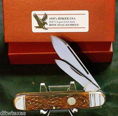 Boker 9471 Large Stag Pocket Knife Circa 1930 S 4 1 8