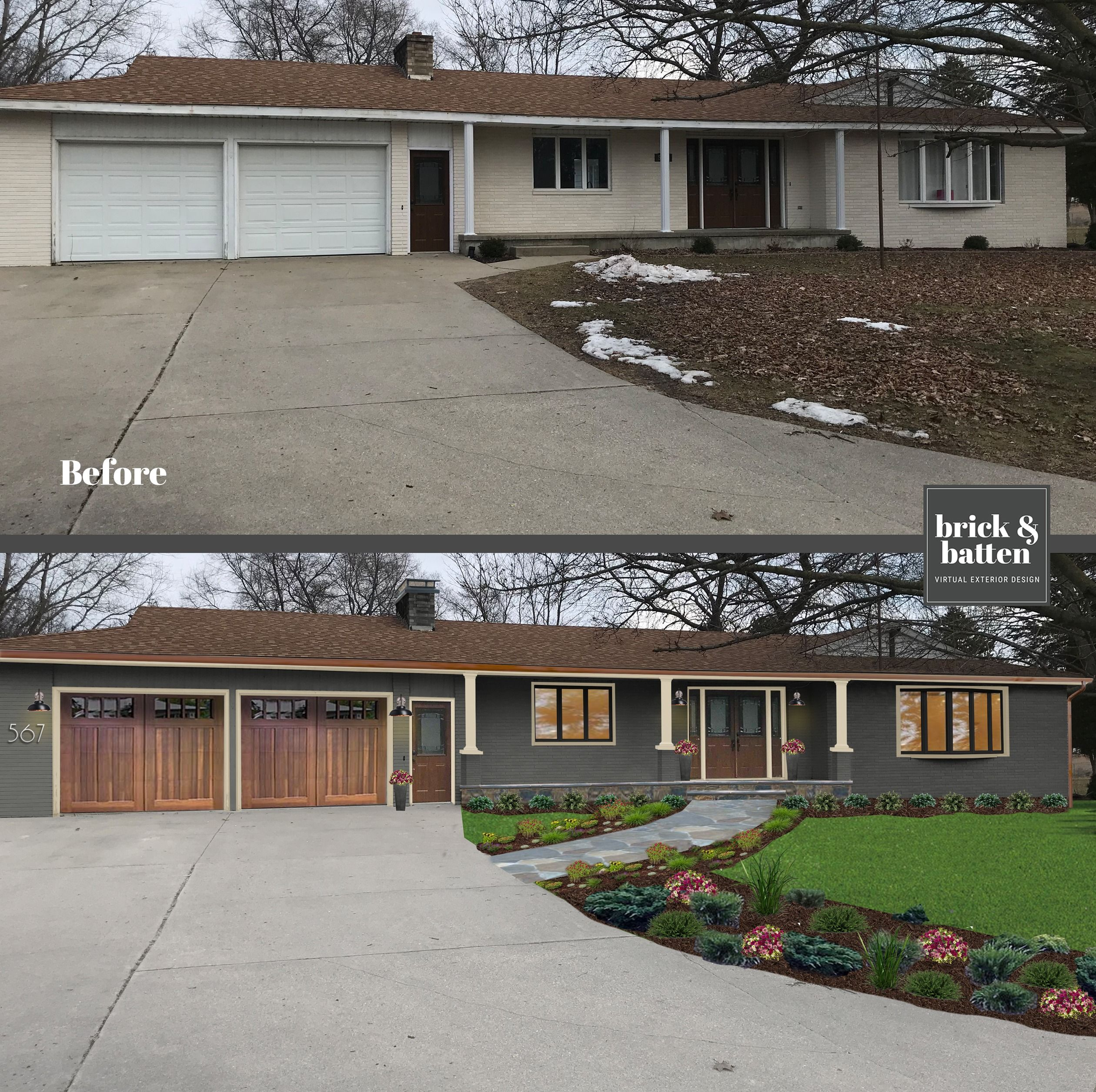 Michigan Before After Home Exterior Makeover Ranch House Remodel Ranch House Exterior