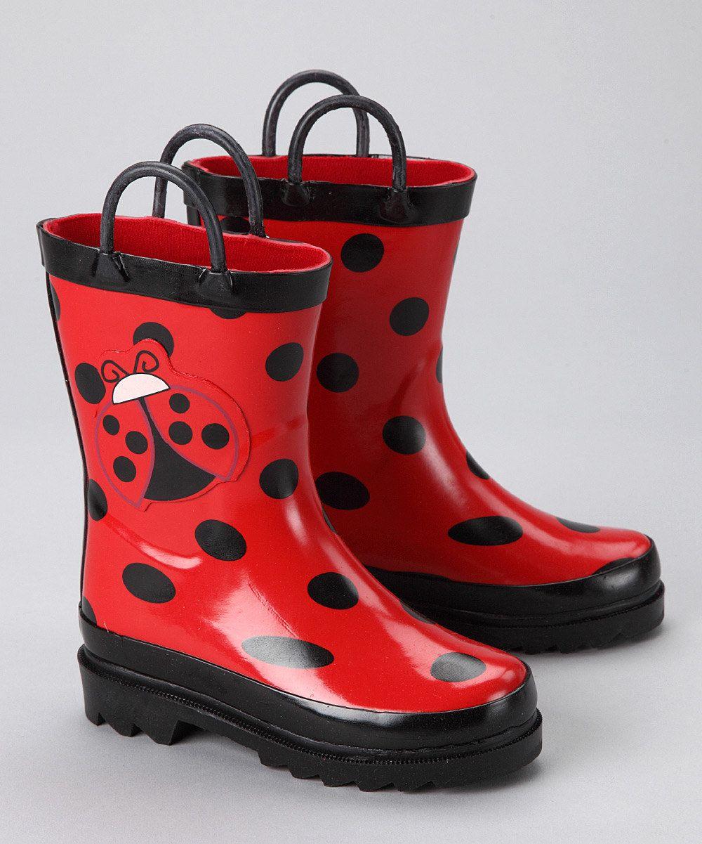 c91255d5fc0 Red   Black Ladybug Rain Boot from AccessoWear Rainwear on  zulily ...