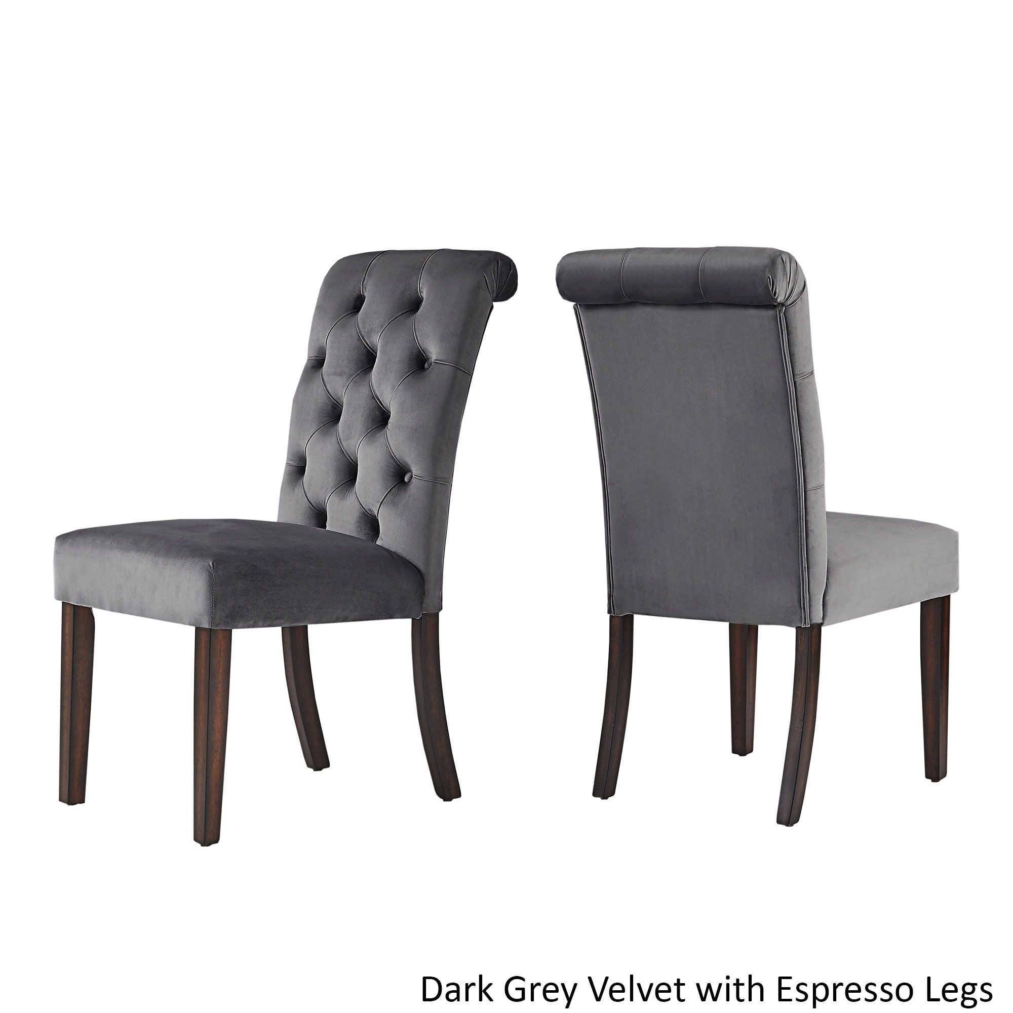 Benchwright Velvet Tufted Rolled Back Parsons Chairs (Set Of 2) By INSPIRE  Q Bold   Overstock.com Shopping   The Best Deals On Dining Chairs