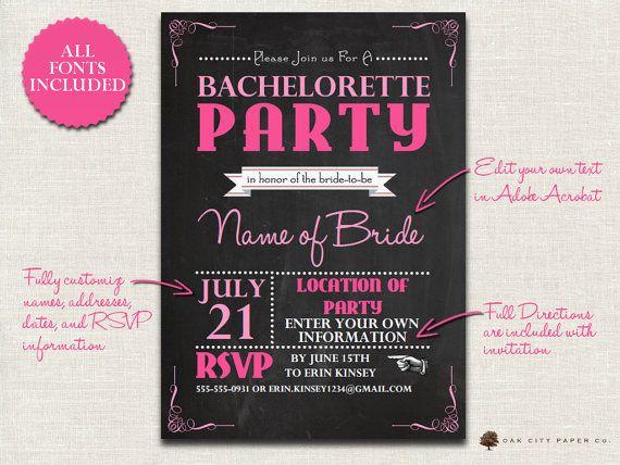 Bachelorette Invitation - Chalkboard Themed Bachelorette Party - bachelorette invitation template
