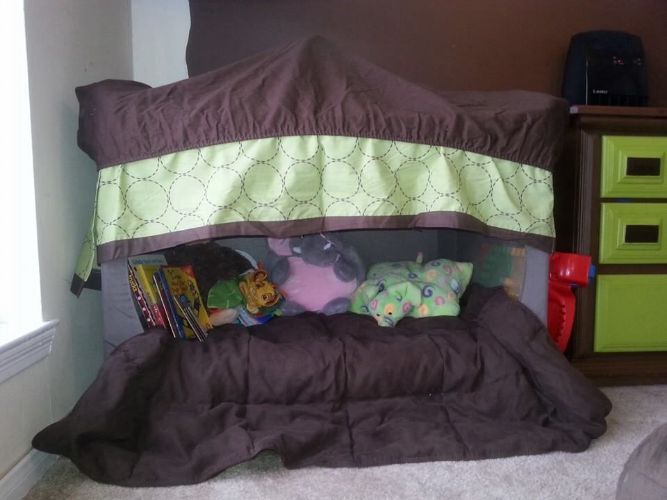 Alexu0027s repurposed pack and play playard into a reading nook with old crib skirt and crib & Alexu0027s repurposed pack and play playard into a reading nook with ...