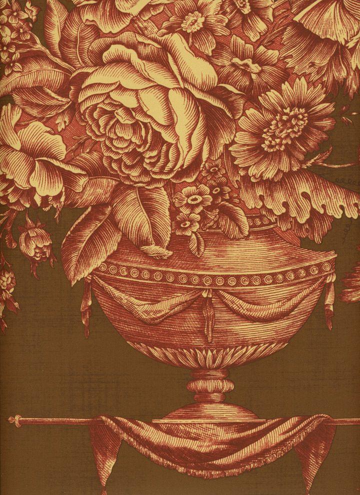Gardenia Maron Wallpaper By Pierre Deux