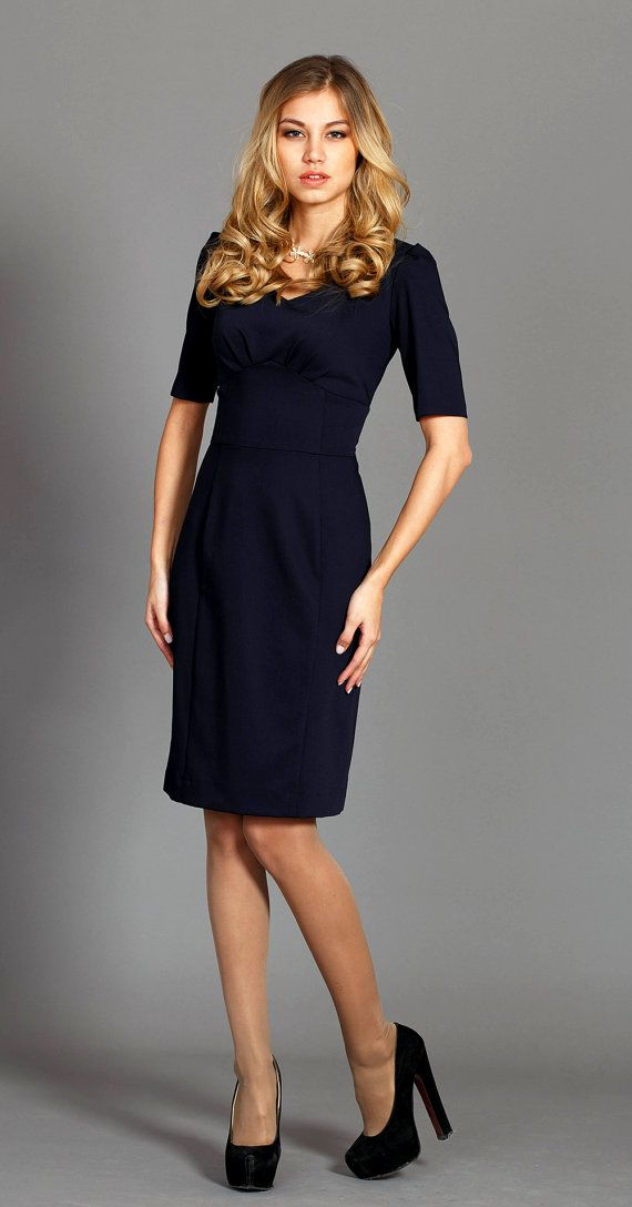 v neck pencil dress office dress in dark blue color от on blue office color id=67203