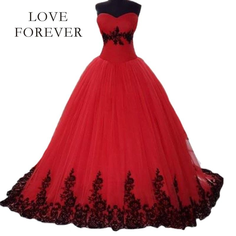 Black and red lace wedding dress