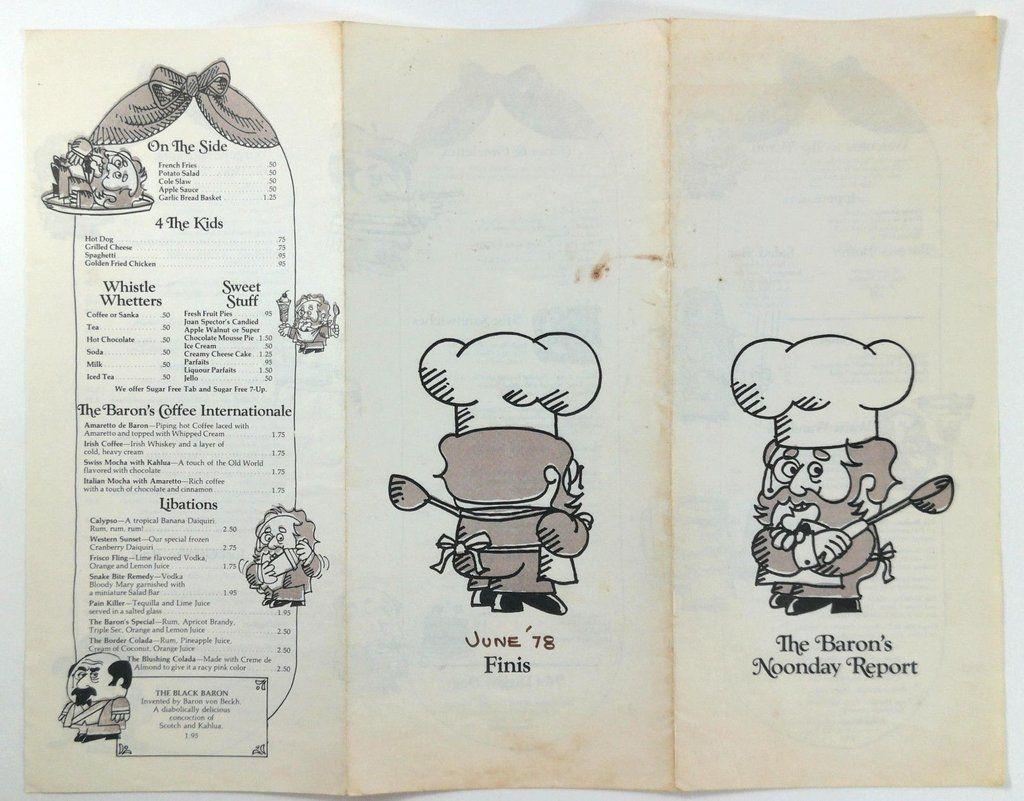 1978 THE BARON Restaurant Original Vintage Menu in 2020