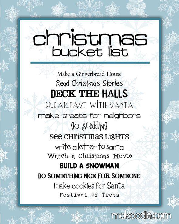 Create A Christmas Bucket List {Free Printable} www247moms - free printable christmas lists