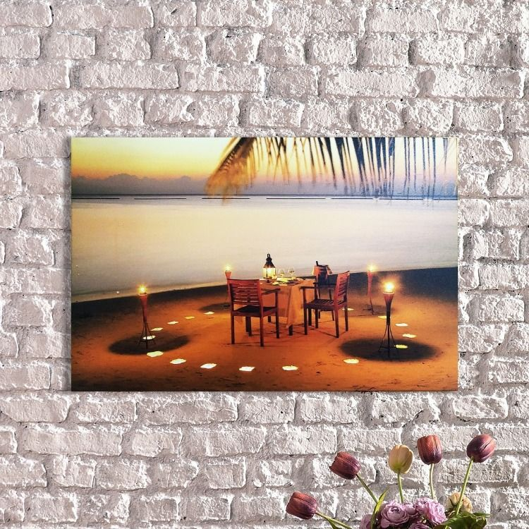 Light Up Canvas Print Beach Romance Canvas Art Wall Etsy In 2020 Light Up Canvas Light Art Wall Art Lighting