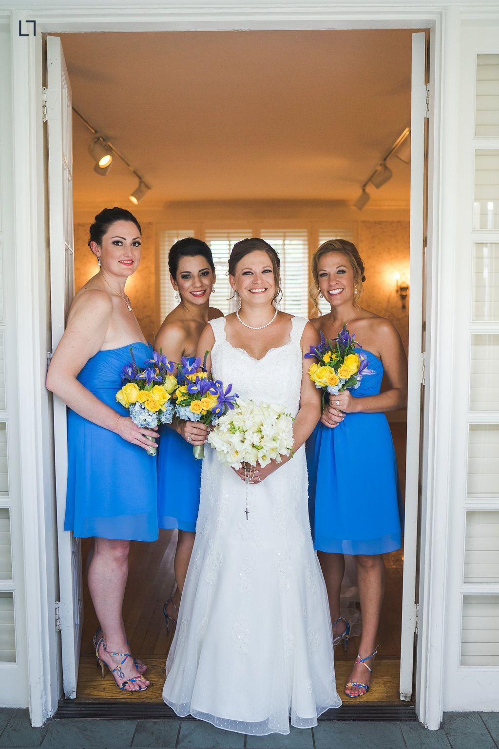 Blue bridesmaid dresses blue short dress yellow bouquets best