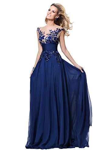 Babyonline Blue Long Prom Lace Dresses Evening Gowns with Sequins ...