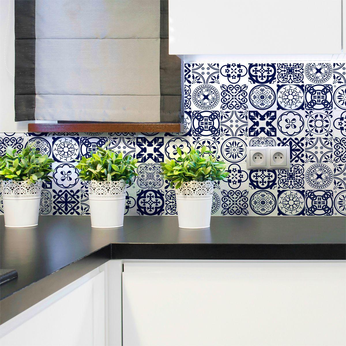 16 Stickers Carreaux De Ciment Ornements Florales Bleu Ambiance Sticker Com Azulejos Tiles Deco Maison Dosseret Cuisine Ambiance Sticker