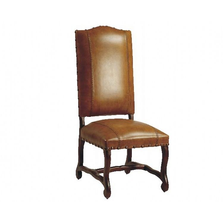 Freida Full Grain Leather Dining Side Chair With Antique Brass