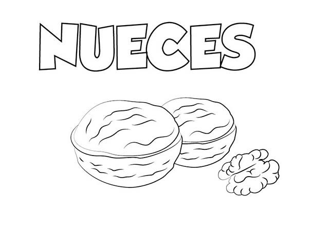 Dibujo Nueces Colorear Dibujos Online Colores Alimentos Para Colorear