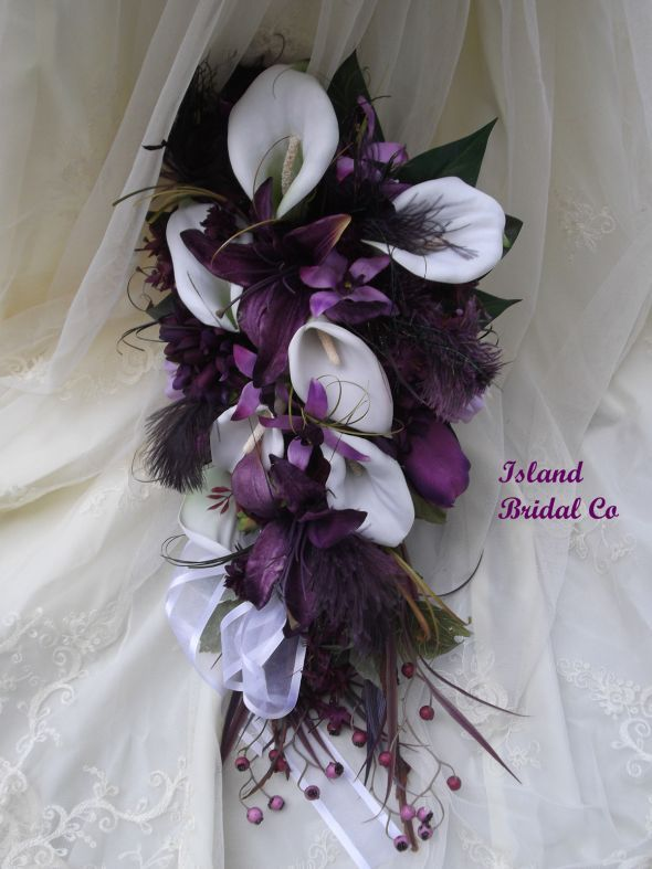 Silk Wedding Bouquet Set White Calla Lilly Purple By Jjulm On Etsy