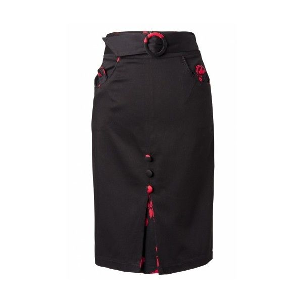 Vixen 50s Floral black red pencil skirt (£28) ❤ liked on Polyvore featuring skirts, cotton pencil skirt, knee length pencil skirt, red pleated skirt, black pencil skirt and floral pencil skirt
