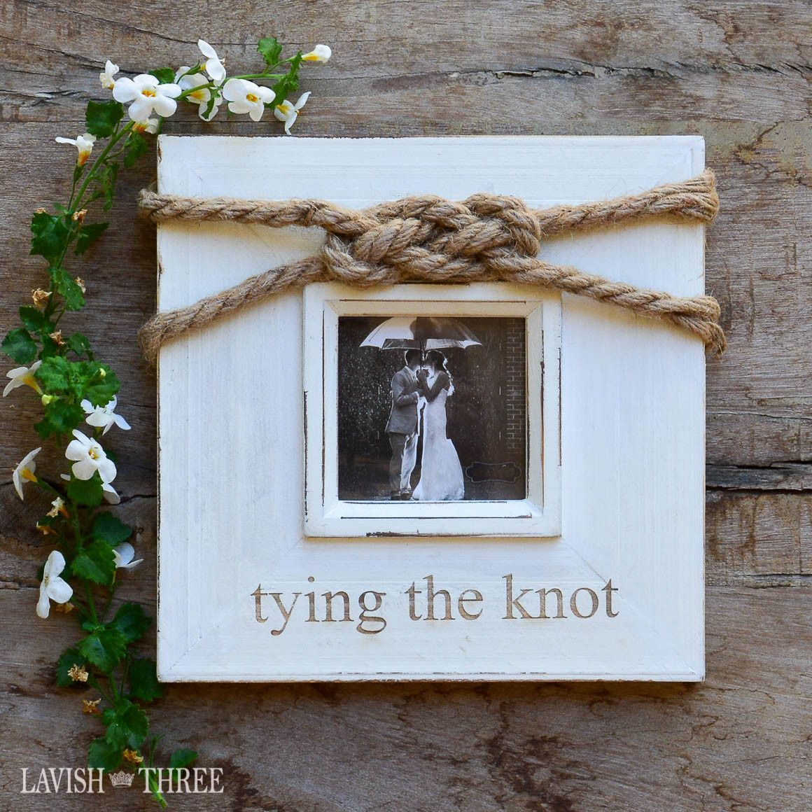 """""""tying the knot"""" ~ wood wedding frame 