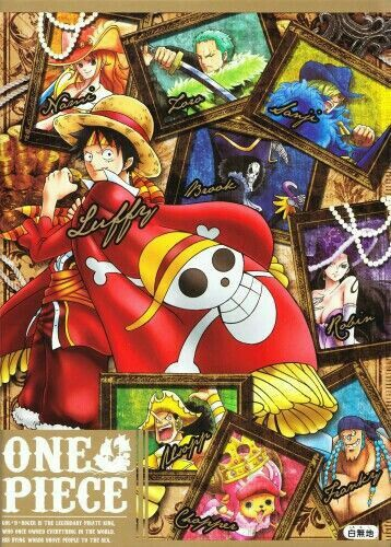 Straw Hat Crew, Mugiwara, Luffy, Sanji, Zoro, Chopper, Usopp, Brook, Franky, Nami, Robin, text; One Piece