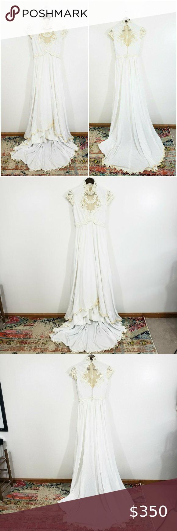 True Vintage 1970s Empire Waist Lace Wedding Dress In 2020 Wedding Dresses Lace Dresses Wedding Dresses