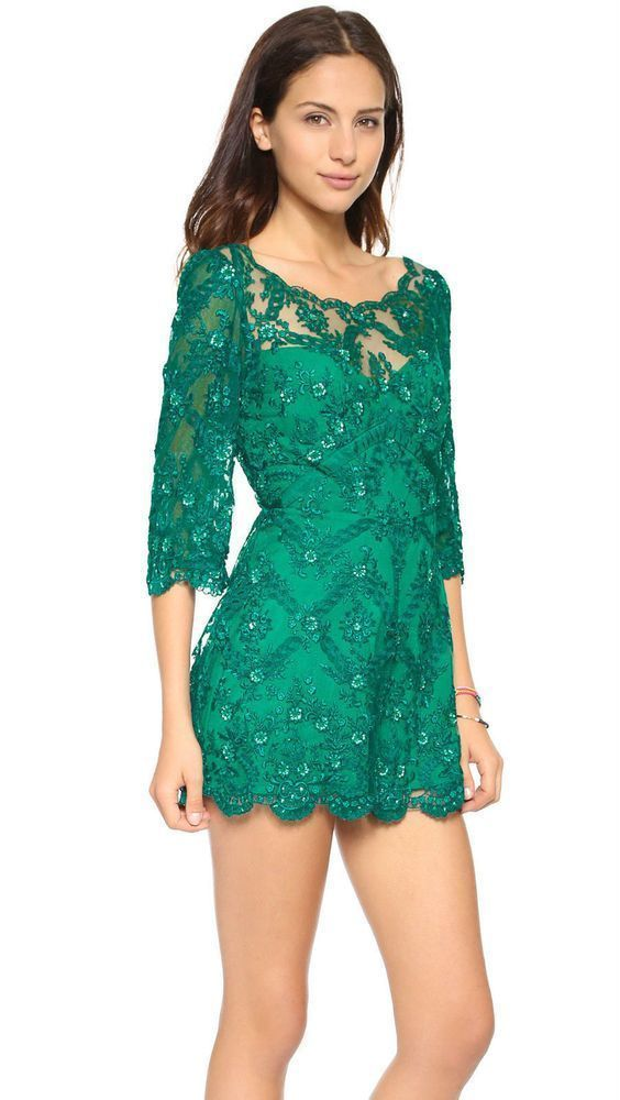 22a394ede4ad Free People Embellished Songbird Romper Size 6 NWT Emerald  FreePeople   romper