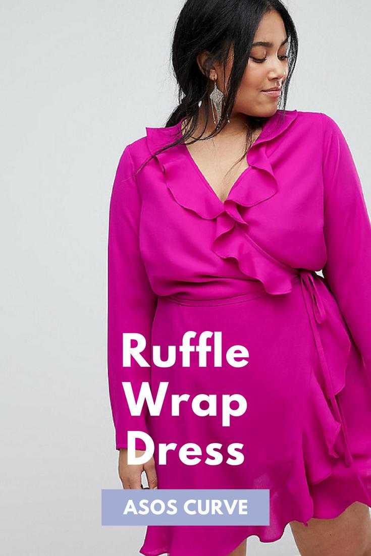 Gorgeous hot pink plus size ruffle wrap mini dress! Asos ...