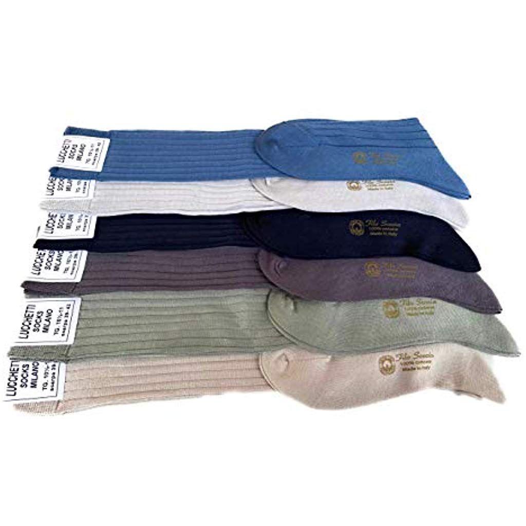 Lucchetti Socks Milano 6 PAIA calze da uomo lunghe filo di scozia 100/% cotone rimagliate Made in Italy