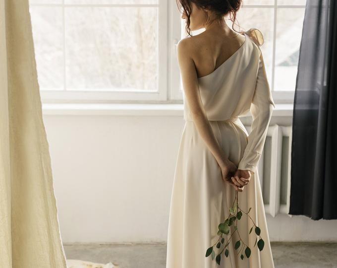 Meerjungfrau Brautkleid Einfaches Brautkleid Minimalistisches Brautkleid Mit Langem Zug Modernes Brautkleid Open Back Sommer Brautkleid
