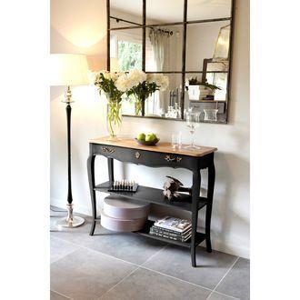 Table console murale en bois avec plateau bois massif et tiroir ...