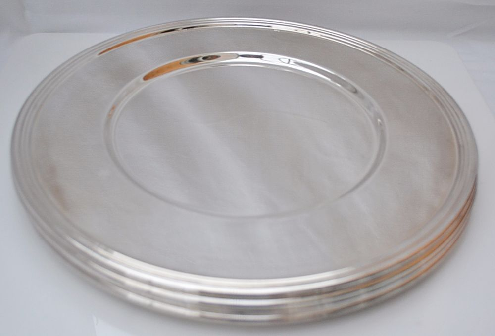 SUPERB Vintage Silver Chrome Plated 4 Place Large Dinner Plates Charger Serving : large dinner plates cheap - pezcame.com