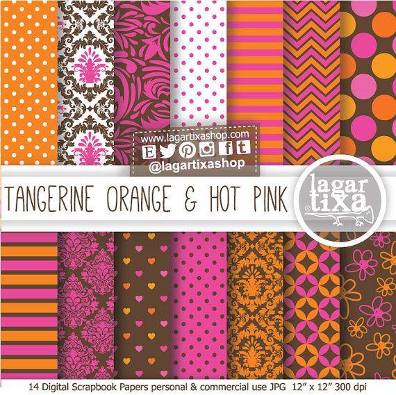 Tangerine Orange Hot Pink  Damask Patterns Digital Paper for blog scrapbook invitations labels toppers