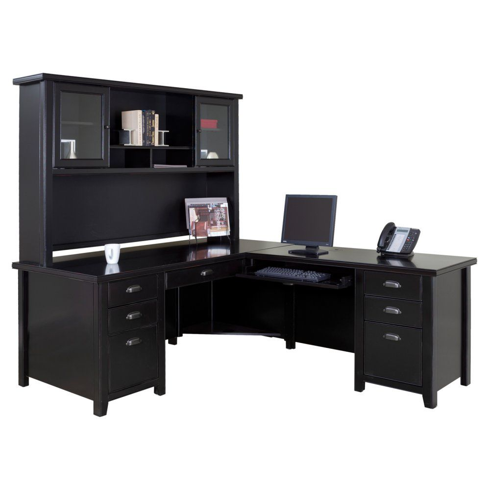 Kathy Ireland Home By Martin Tribeca Loft Executive L Shaped Desk With Optional Hutch Black Desks At Hayneedle