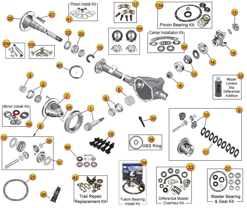 Interactive Diagram - Jeep Wrangler TJ Axle Parts | Dana Model 35 ...