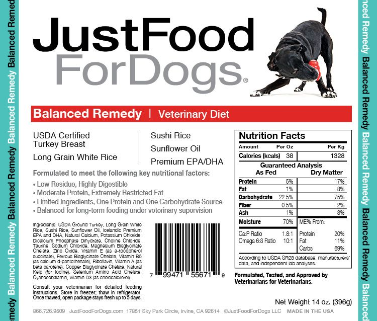 Balanced Remedy Gastrointestinal Diet For Dogs Rice Nutrition