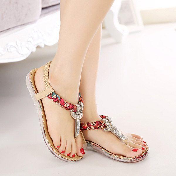 dc85f0a1e612 US Size 5-10 Women Summer Bohemian Beach Soft Comfortable Casual Fashion  Flat Sandals Shoes