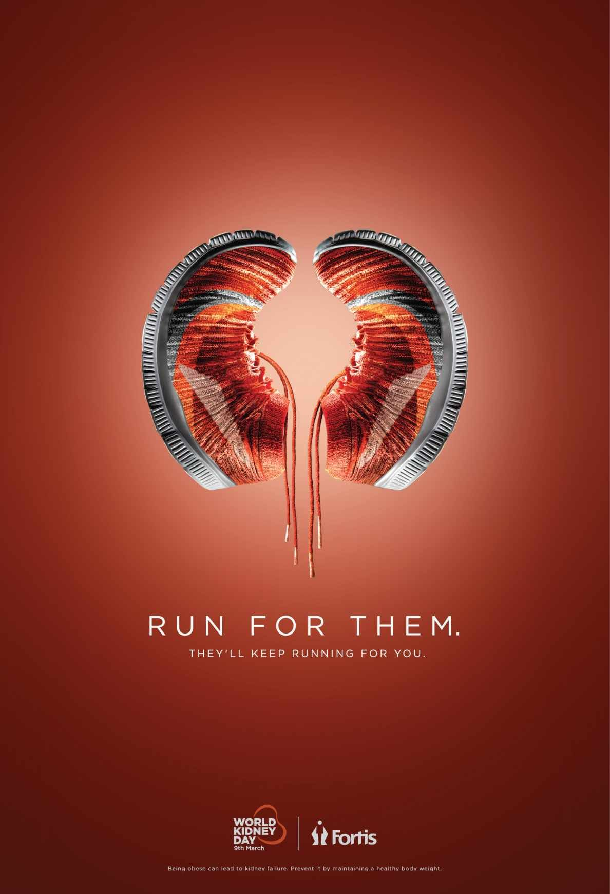 Fortis World Kidney Day Shoes Ads Creative Healthcare Advertising Print Ads