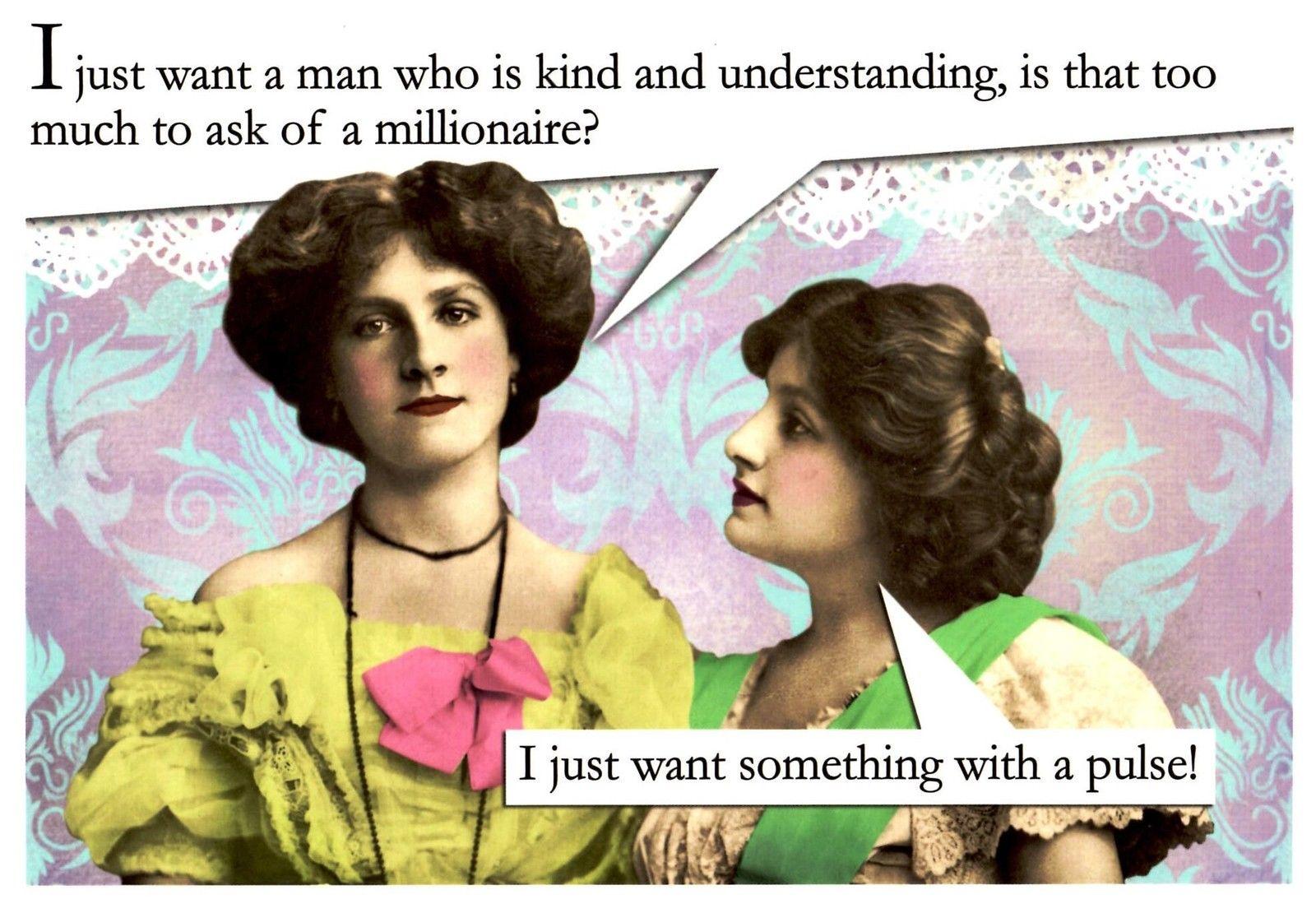 Kind understanding millionaire funny retro female birthday