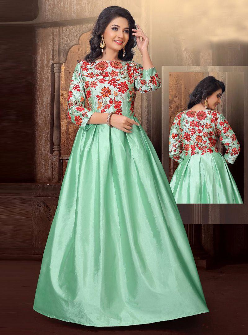 Sea Green Silk Readymade Gown 117197 | Bollywood dresses | Pinterest ...