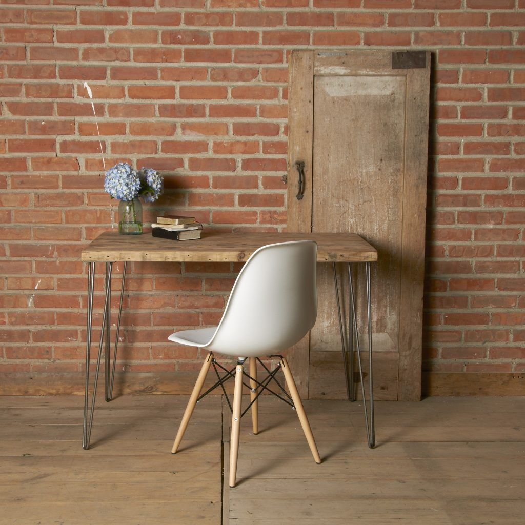 furniture acacia wood working desk with wrought iron legs