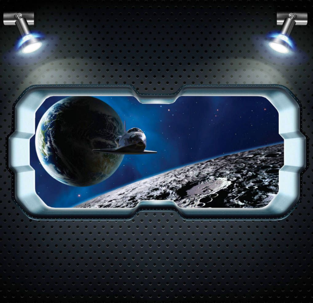 vinyl sticker 3D illusion wall decal for kids astronaut space walk from a spaceship window wall sticker