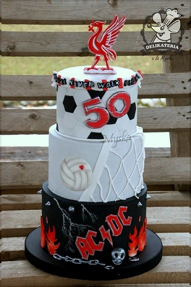 cake for a man - Liverpool, volleyball and ACDC fan