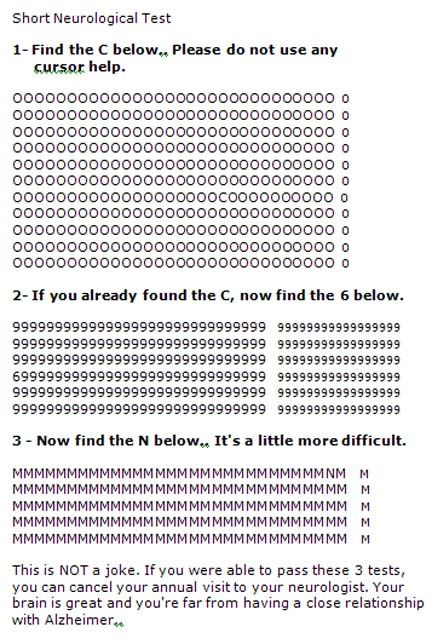 This is a short neurological test  Try it    Boggle your
