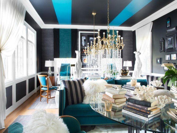 farbliche Gestaltung der Decke im Wohnzimmer Wände streichen