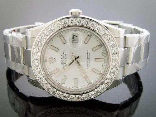 Unworn New Rolex Datejust Oyster Xl Diamond Watch 5.0ct Bezel 43mm White Face G/si1 for only $16,500.00 You save: $109,500.00 (87%)