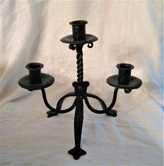 Wrought Iron Candle Holders Hand Forged Leaf Design Black Iron