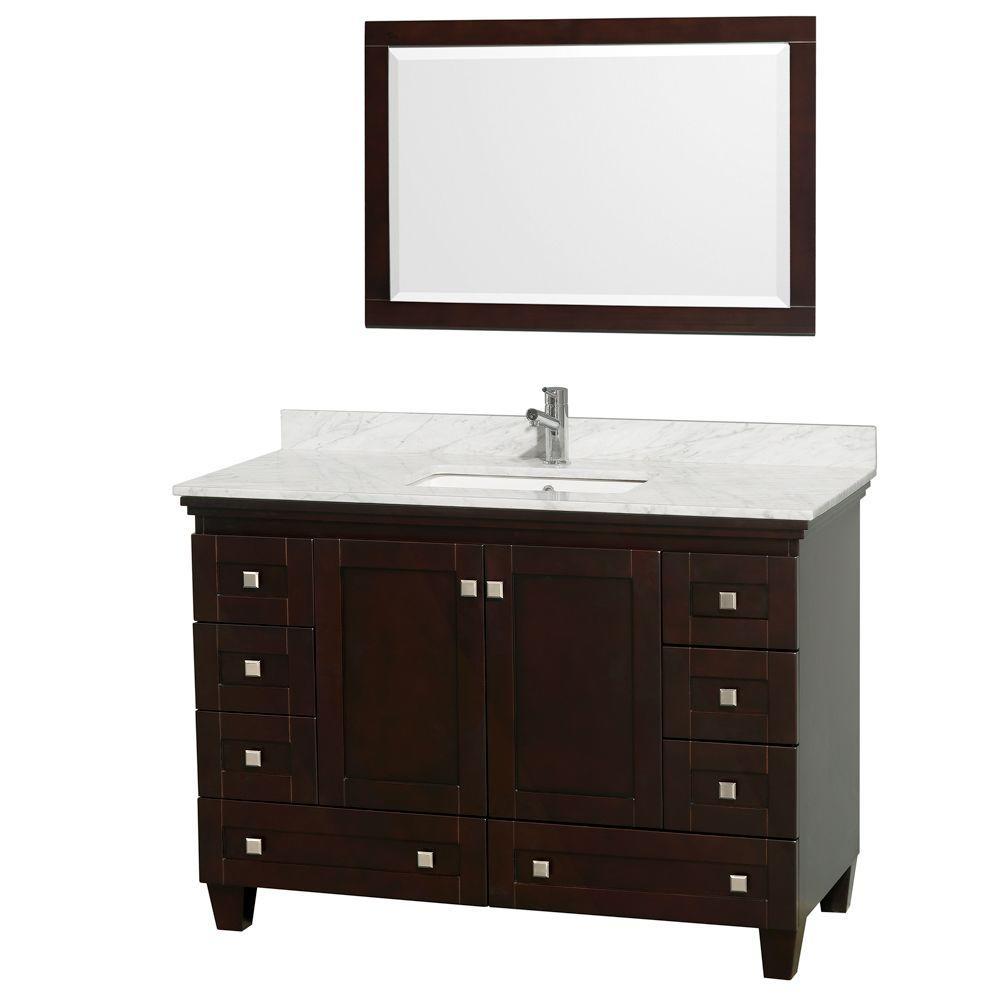 Wyndham Collection Acclaim 48 In Vanity In Espresso With Marble Vanity Top In Carrara White Square Sink And Mirror Single Bathroom Vanity Marble Vanity Tops White Sink