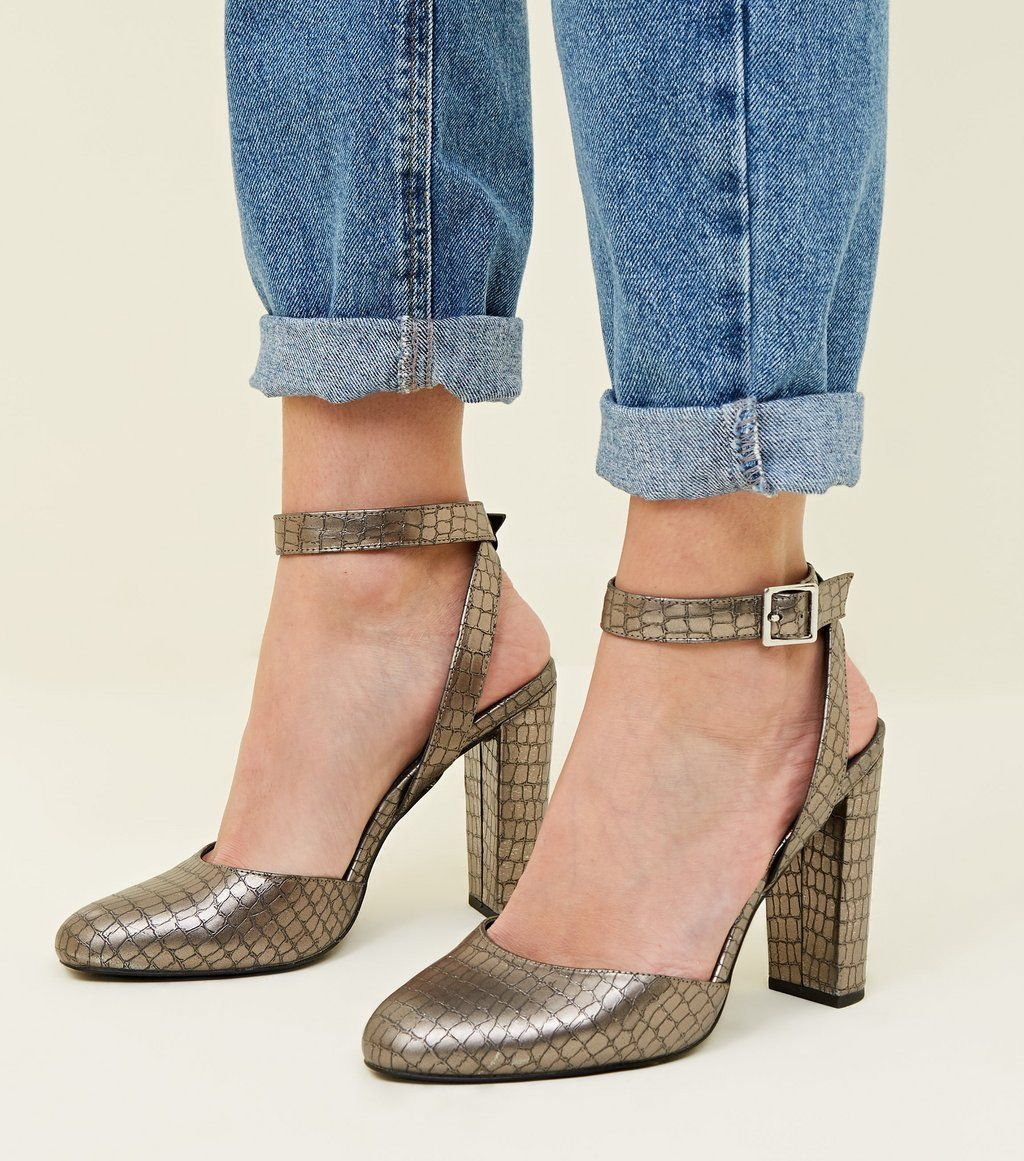 460c744d93b Wide Fit Silver Faux Croc Block Heels