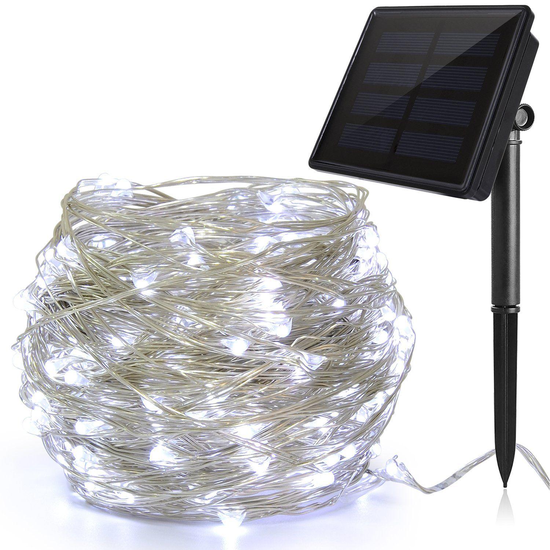 Solar String Lights, Ankway 200 LED Fairy White Lights 3-Strand ...
