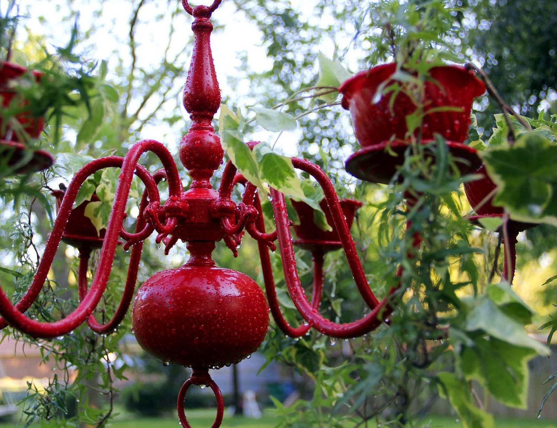 Romantic Red Sale Cottage Chic Planter Chandelier Humming Bird Feeders Diy Chandelier Diy Hummingbird Feeder
