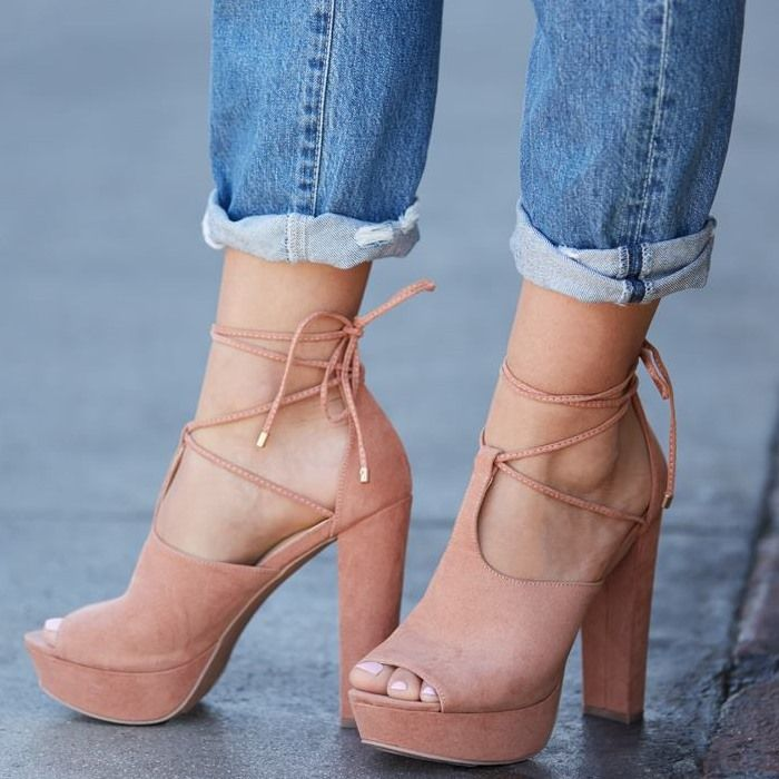 Must Have $9.99 Shoes: Flirty Mixed-Materials Chunky Heels