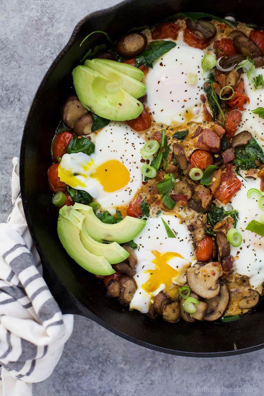 Spinach Mushroom Breakfast Skillet With Eggs Recipe Vegetarian Brunch Recipes Breakfast
