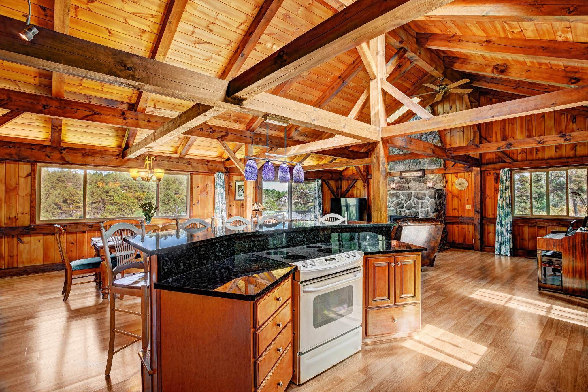 Large open cabin floor plan in the woods of Colorado